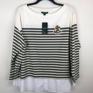LAUREN Ralph Lauren 3X Striped Cream Shirt I409